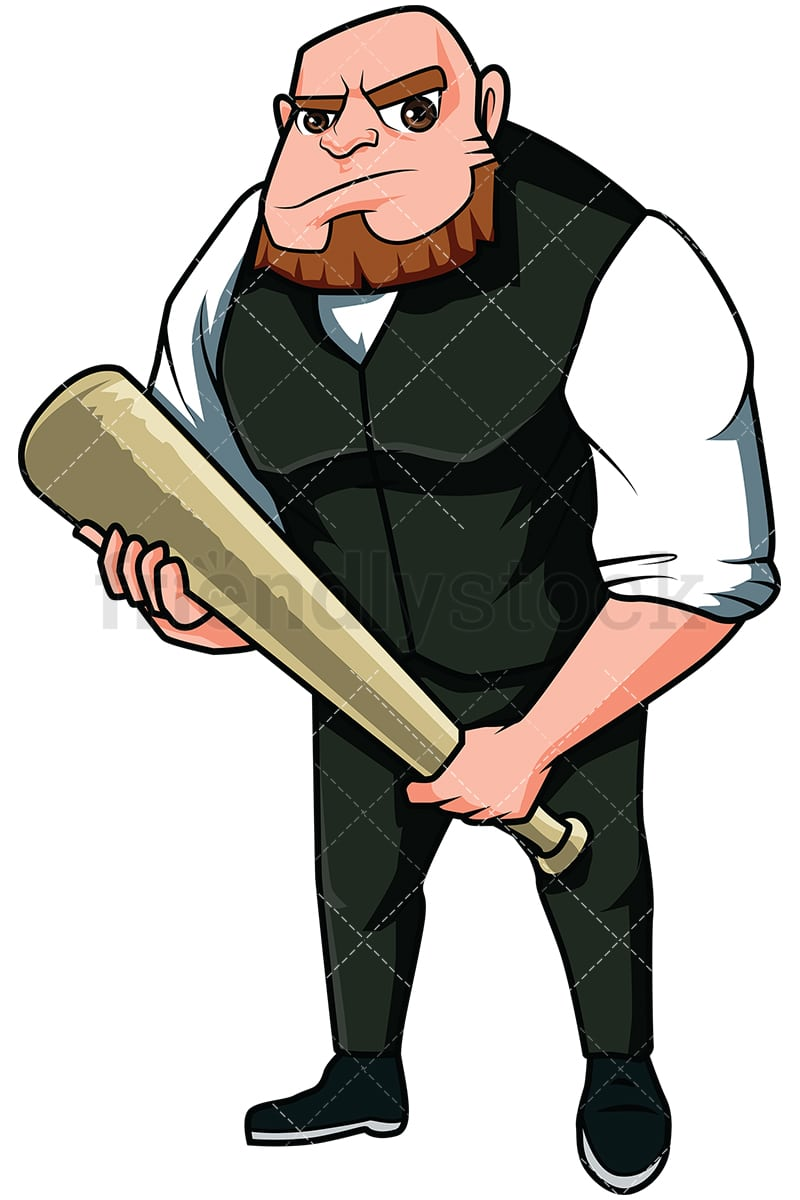 hight resolution of angry mobster holding a bat vector cartoon clipart