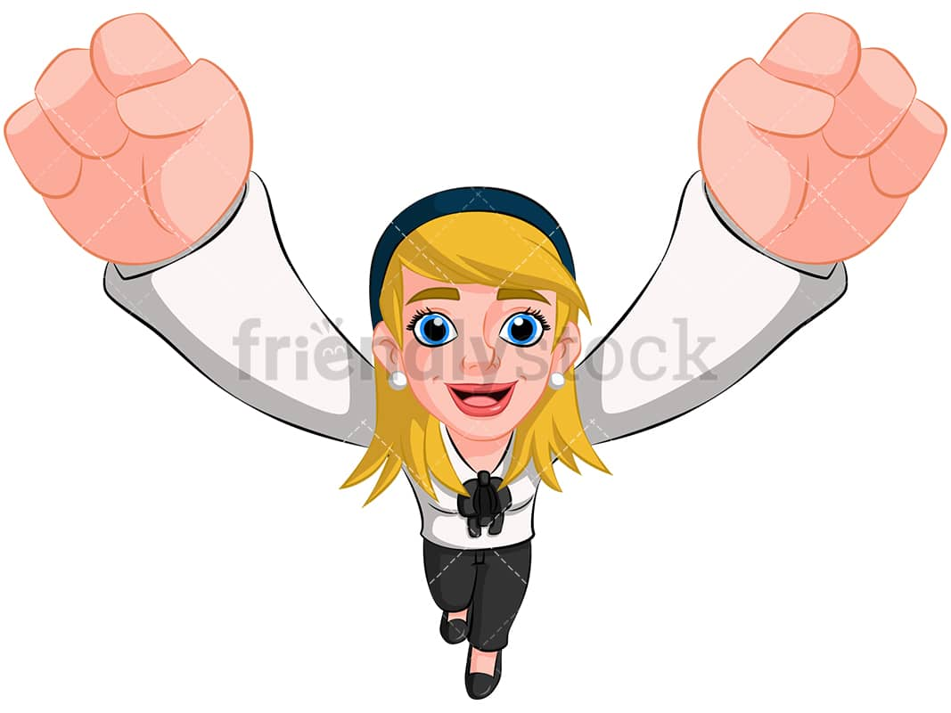hight resolution of business woman cheering top view image isolated on transparent background png