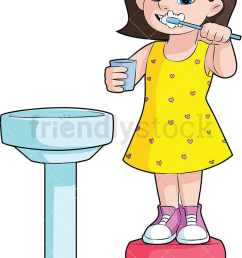 little girl brushing her teeth in the sink vector cartoon clipart [ 800 x 1200 Pixel ]