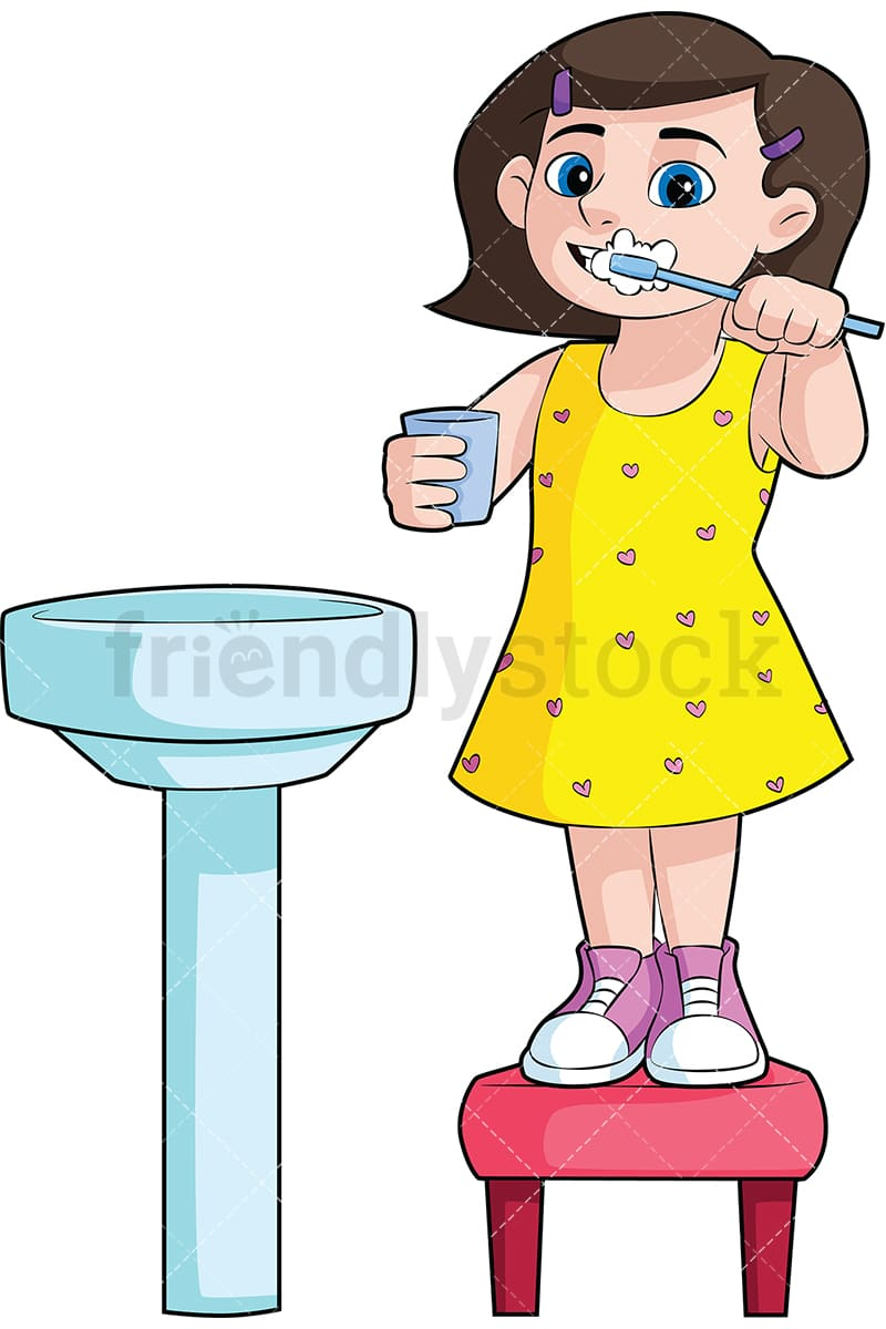 hight resolution of little girl brushing her teeth in the sink vector cartoon clipart