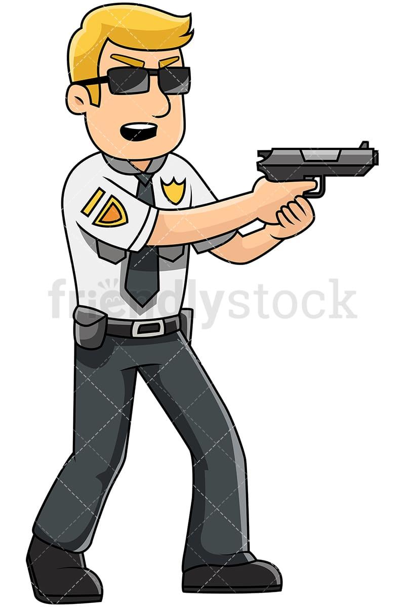 medium resolution of male police officer holding service pistol vector cartoon clipart