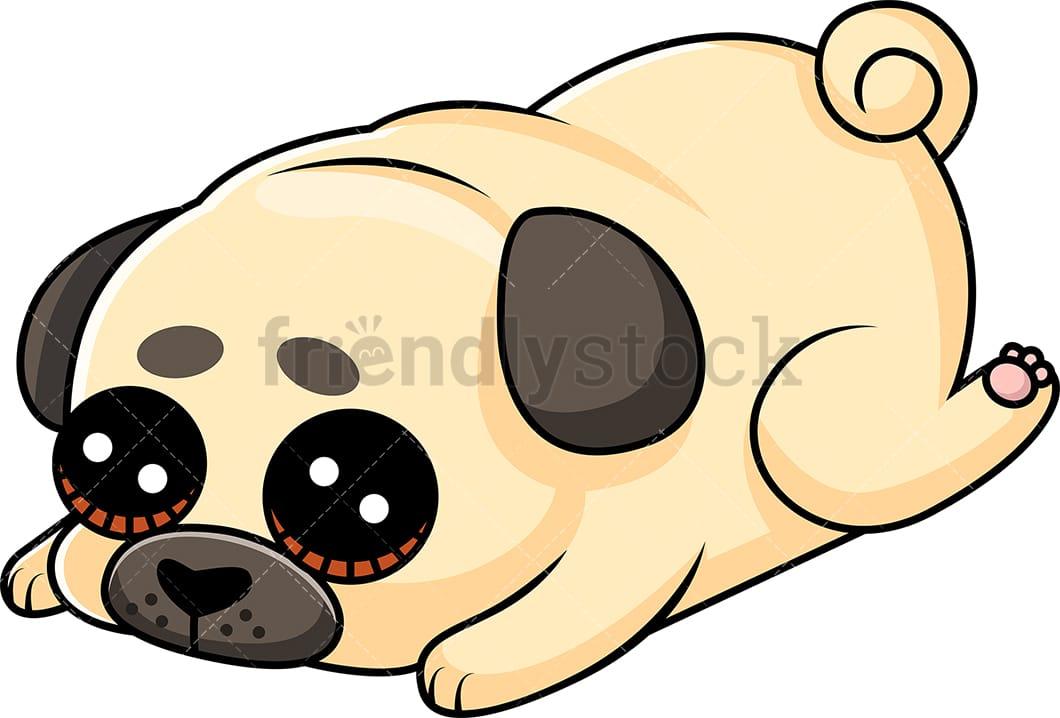 cute pug puppy laying