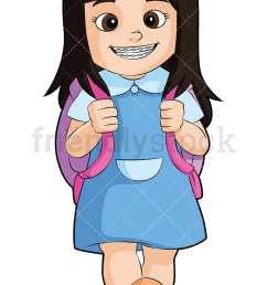 little girl with braces going to school vector cartoon clipart [ 800 x 1200 Pixel ]