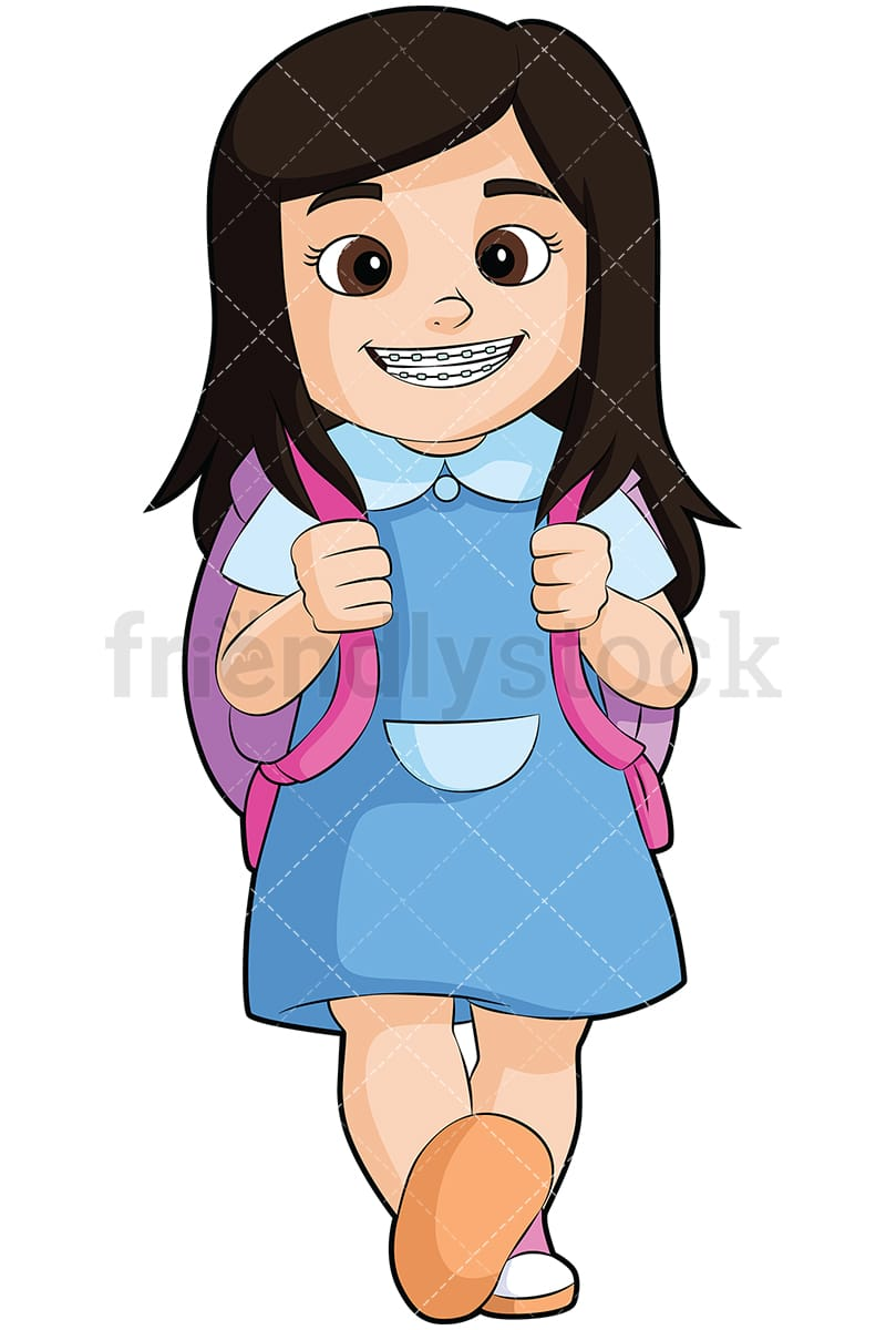 hight resolution of little girl with braces going to school vector cartoon clipart