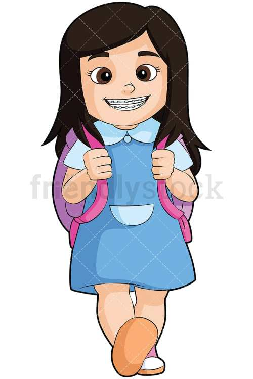 small resolution of little girl with braces going to school vector cartoon clipart