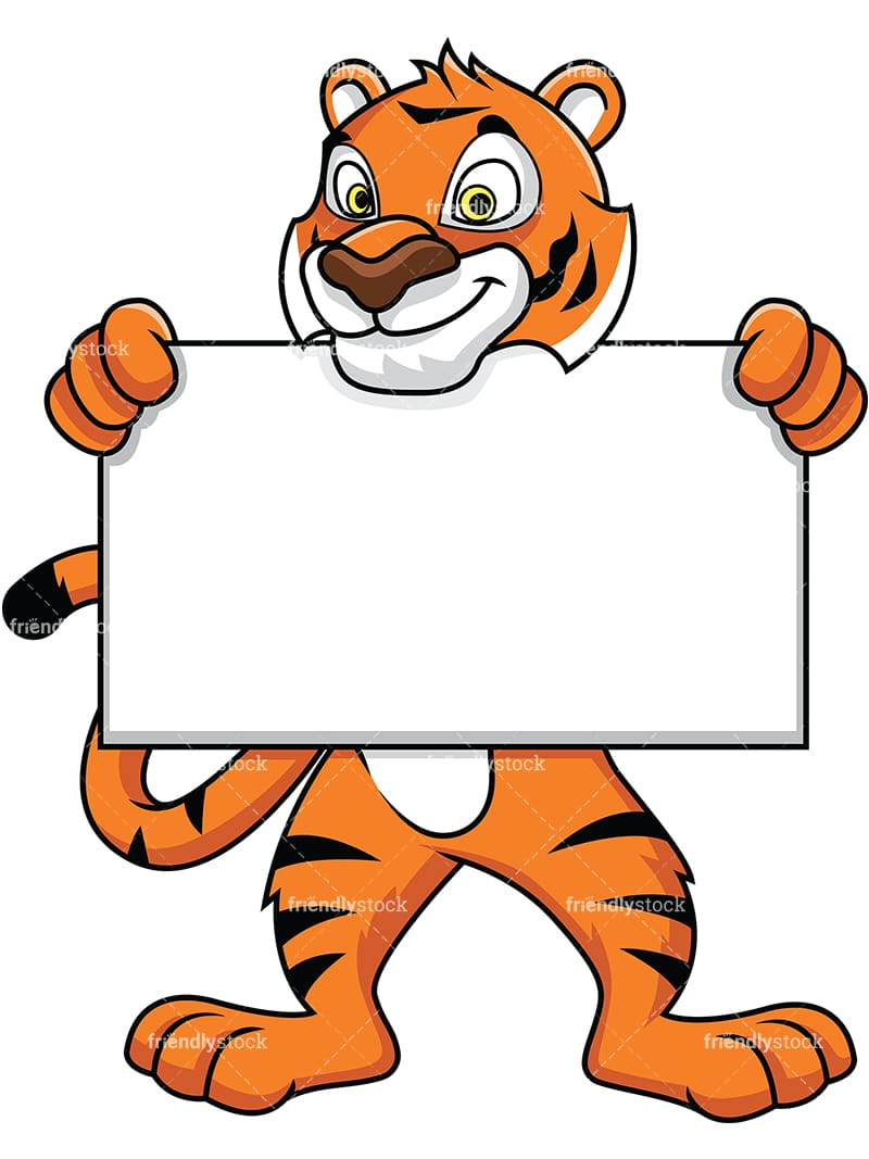 hight resolution of tiger mascot holding an empty sign vector cartoon clipart