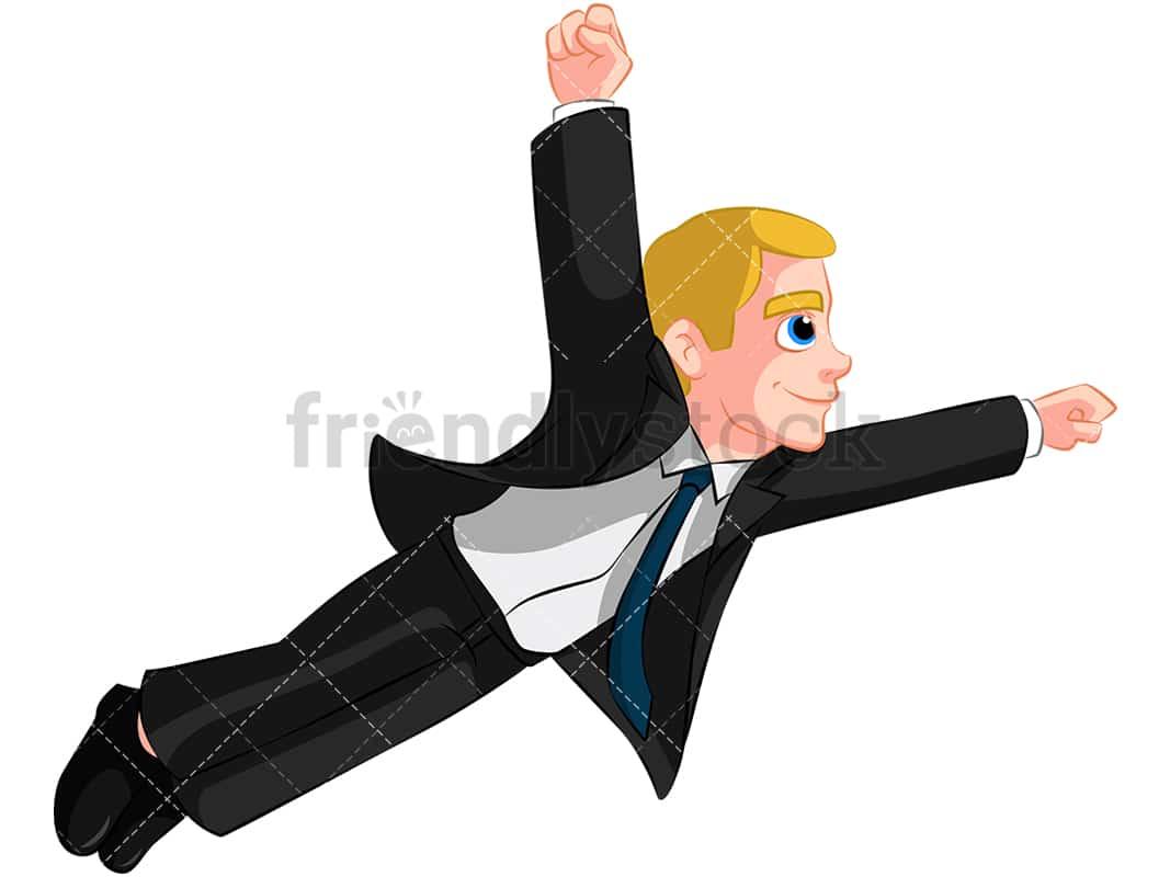 a businessman flying in