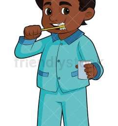 black boy brushing his teeth vector cartoon clipart [ 800 x 1200 Pixel ]