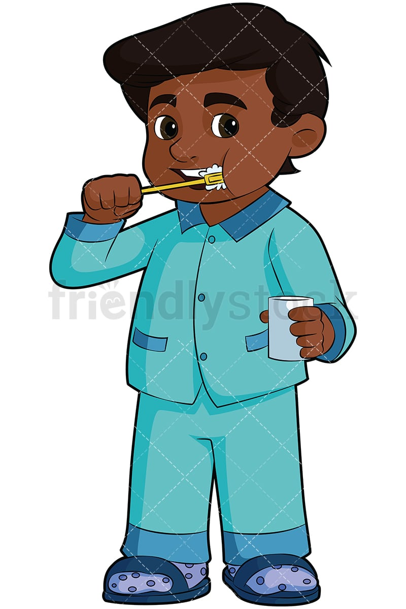 hight resolution of black boy brushing his teeth vector cartoon clipart