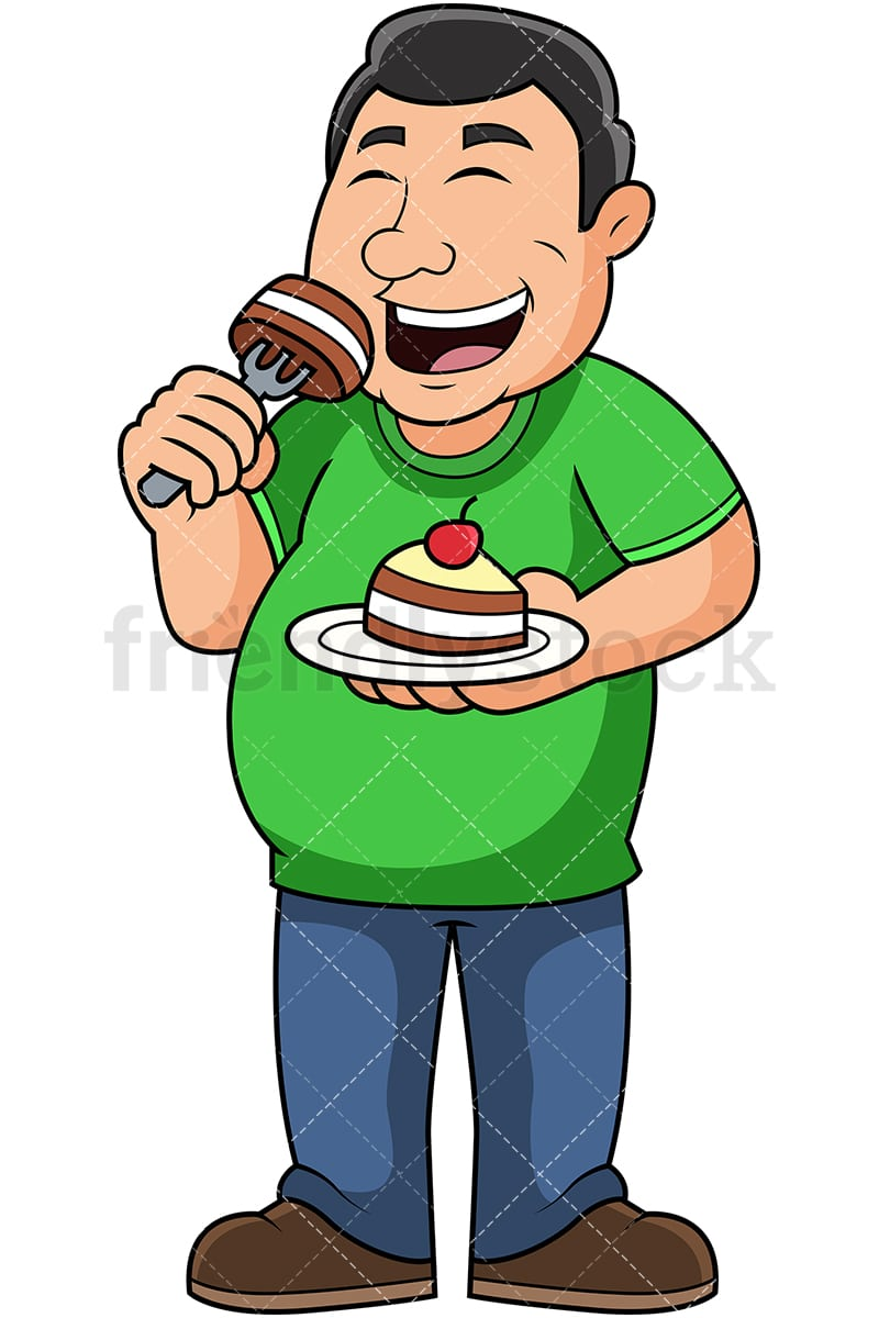 hight resolution of fat guy eating cake vector cartoon clipart