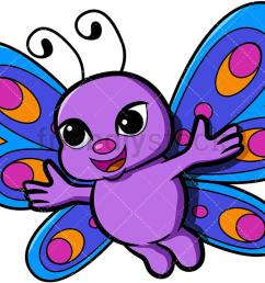 cute butterfly with open arms vector cartoon clipart [ 1067 x 800 Pixel ]