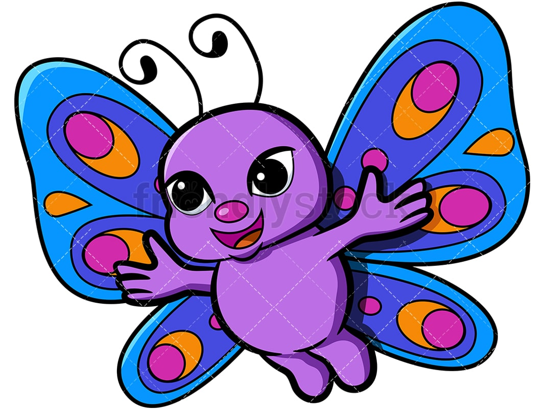 hight resolution of cute butterfly with open arms vector cartoon clipart