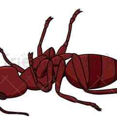 dead red ant vector cartoon clipart [ 1200 x 675 Pixel ]