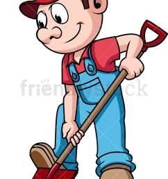 farmer digging the soil with shovel vector cartoon clipart [ 800 x 1200 Pixel ]
