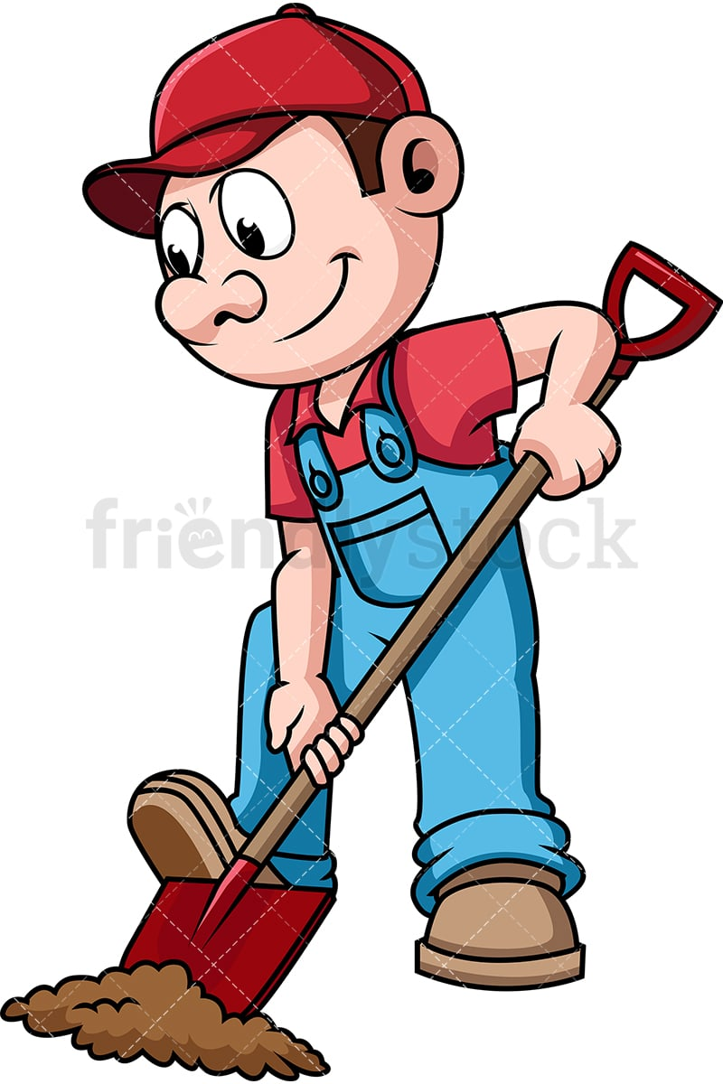hight resolution of farmer digging the soil with shovel vector cartoon clipart