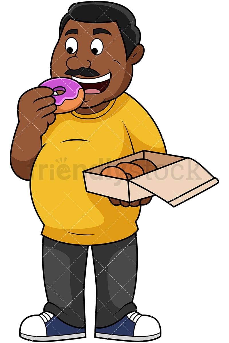 hight resolution of fat black guy eating donuts vector cartoon clipart