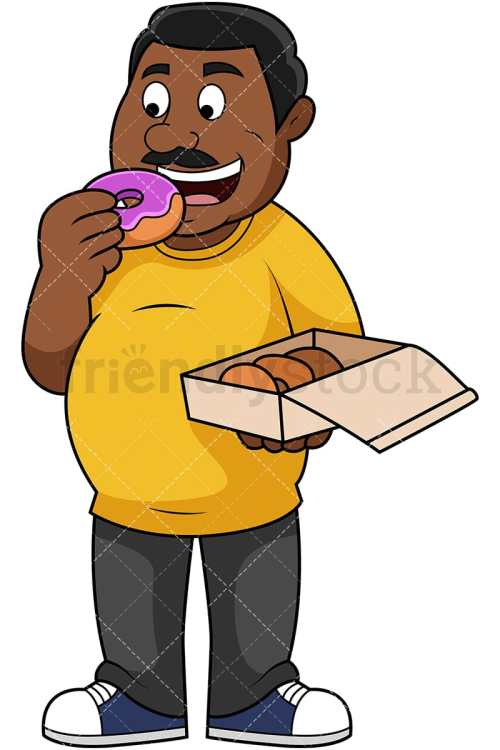 small resolution of fat black guy eating donuts vector cartoon clipart