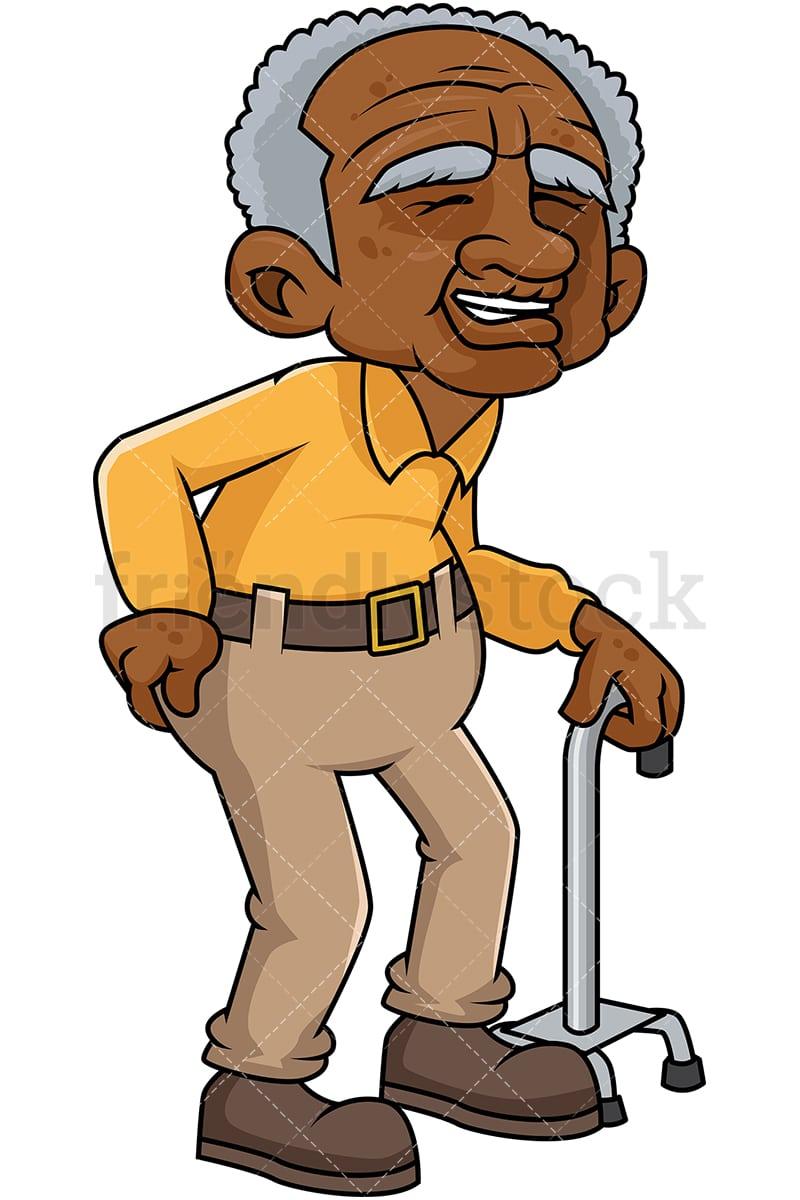 Old Man Cartoon : cartoon, Black, Cartoon, Vector, Clipart, FriendlyStock