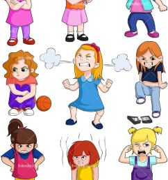 angry kids girls collection vector cartoon clipart [ 800 x 1200 Pixel ]