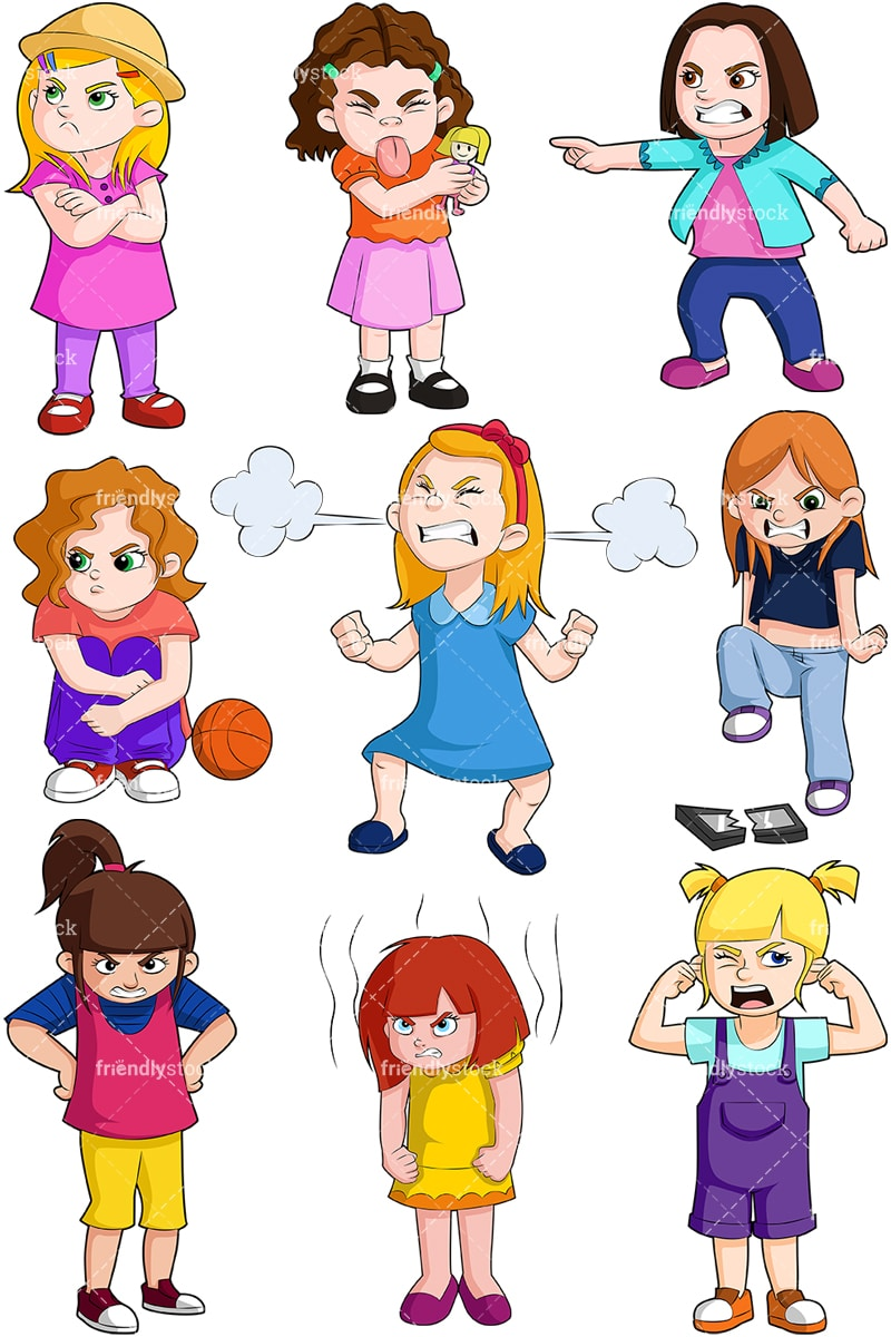 hight resolution of angry kids girls collection vector cartoon clipart