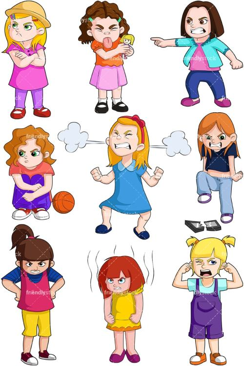 small resolution of angry kids girls collection vector cartoon clipart