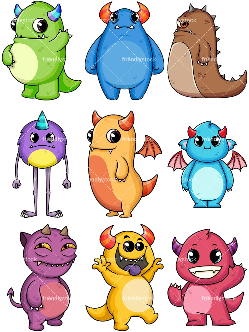 medium resolution of monsters collection 2 vector cartoon clipart