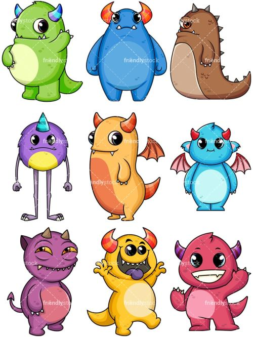 small resolution of monsters collection 2 vector cartoon clipart