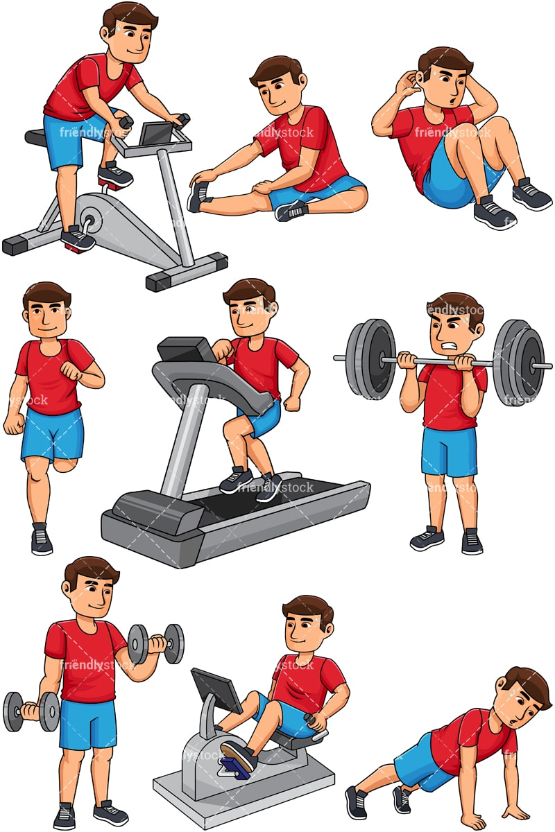 hight resolution of man working out vector cartoon clipart