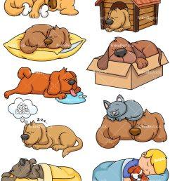 sleeping dogs collection vector cartoon clipart [ 800 x 1067 Pixel ]