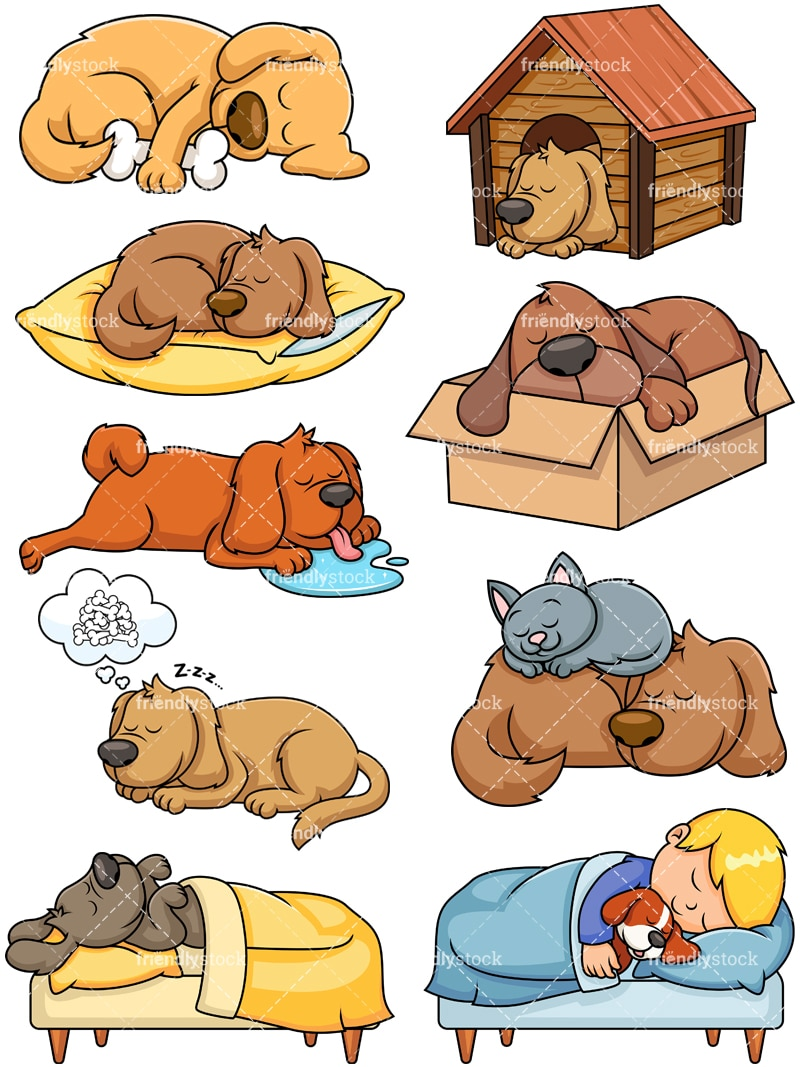 hight resolution of sleeping dogs collection vector cartoon clipart
