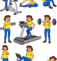 woman working out vector cartoon clipart [ 800 x 1200 Pixel ]
