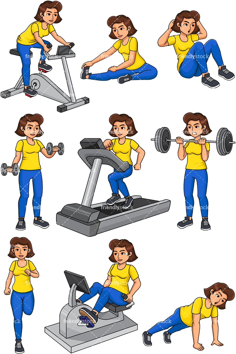 hight resolution of woman working out vector cartoon clipart