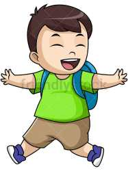 student boy clipart going cartoon pupil vector cheerful happy working transparent background friendlystock reference cliparts