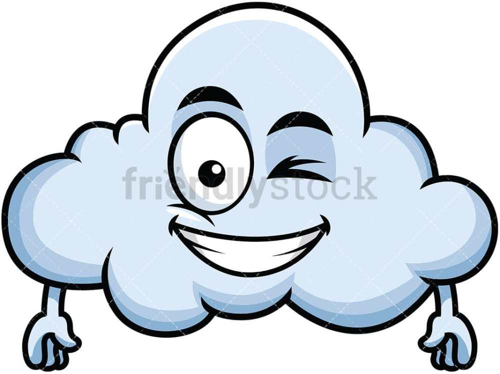 medium resolution of winking and smiling cloud emoji vector cartoon clipart