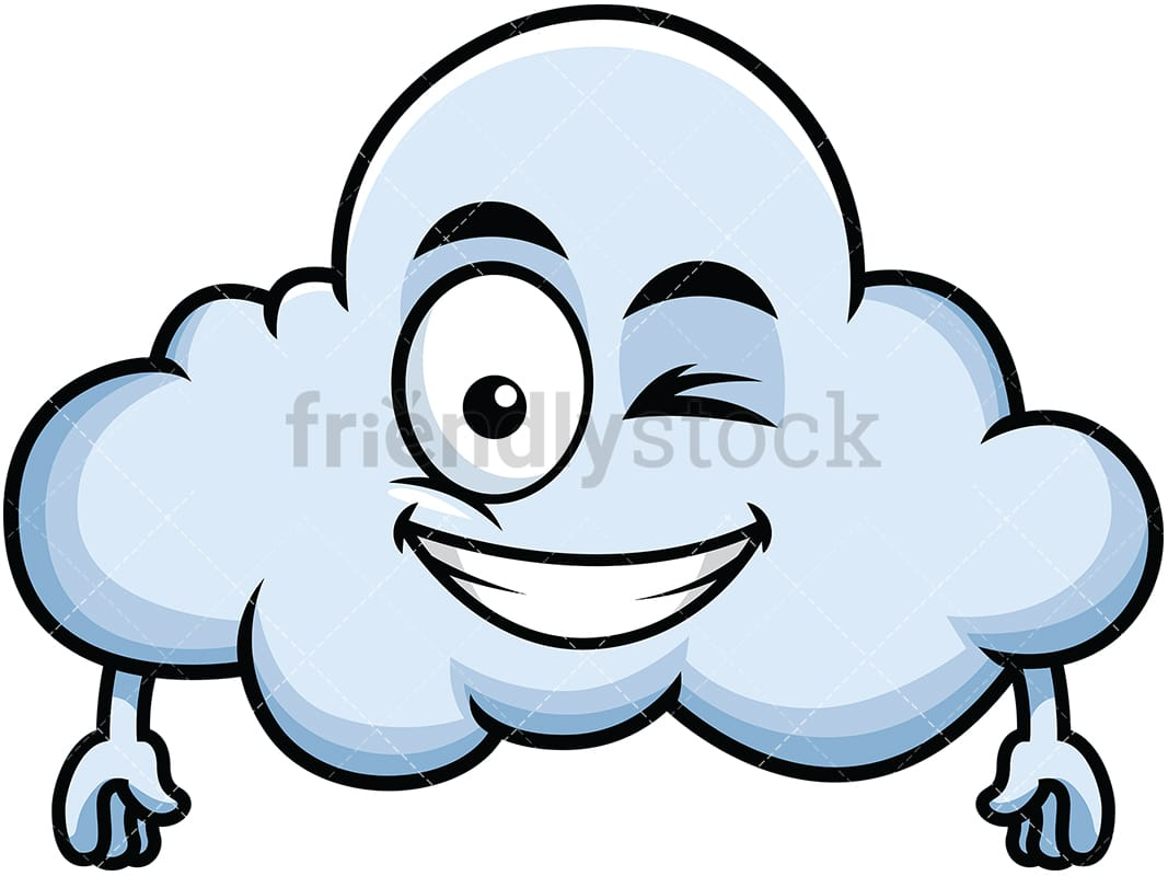 hight resolution of winking and smiling cloud emoji vector cartoon clipart