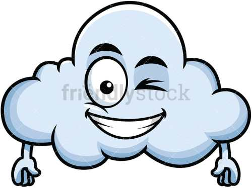 small resolution of winking and smiling cloud emoji vector cartoon clipart