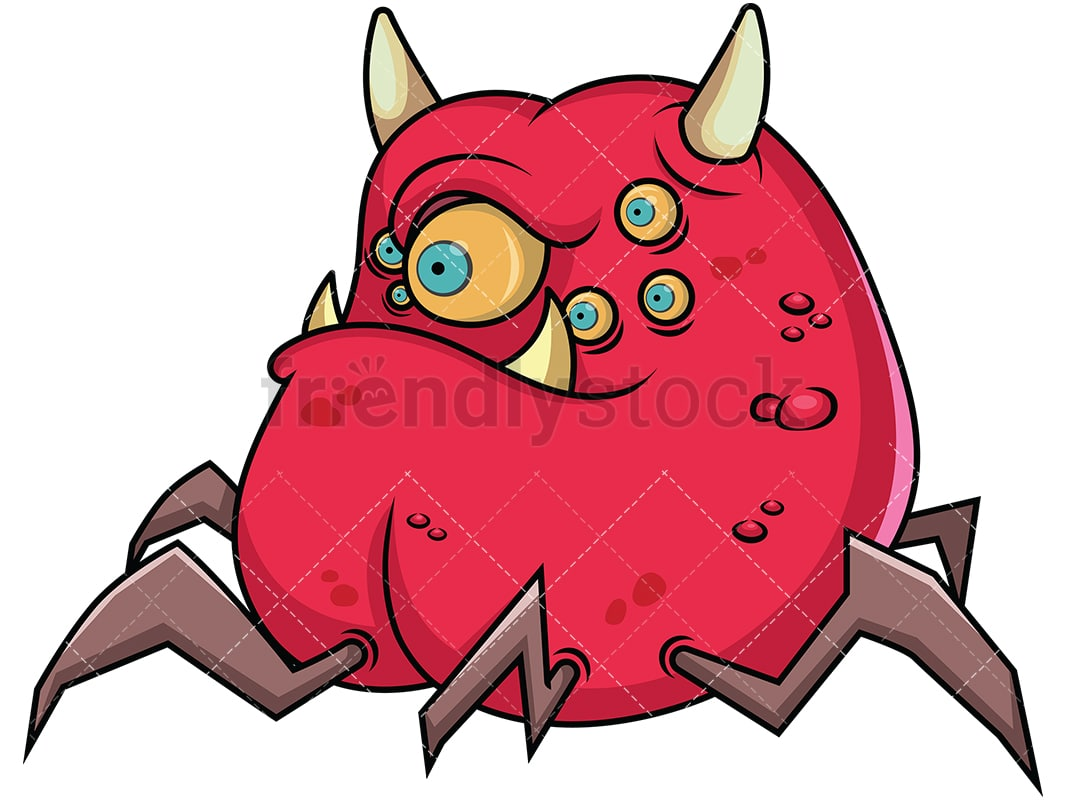 hight resolution of scary monster with lots of eyes vector cartoon clipart