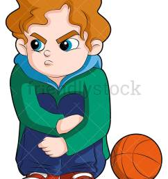 a young basketball player sitting on the sideline looking angry vector cartoon clipart [ 800 x 1067 Pixel ]