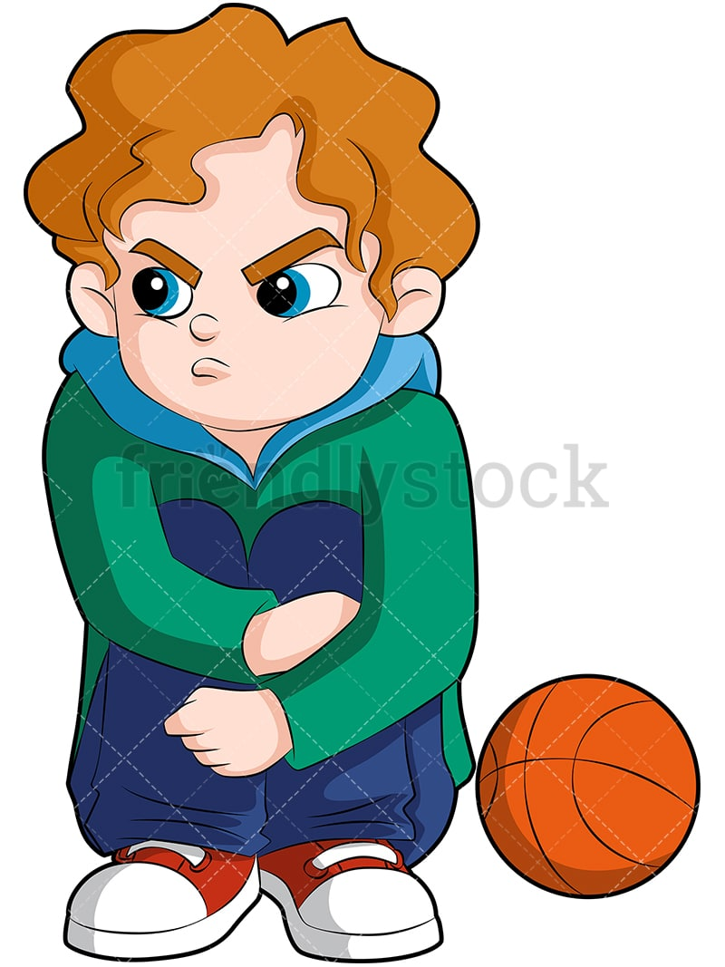 hight resolution of a young basketball player sitting on the sideline looking angry vector cartoon clipart
