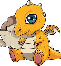 cute dragon hatchling near its egg vector cartoon clipart [ 1067 x 800 Pixel ]