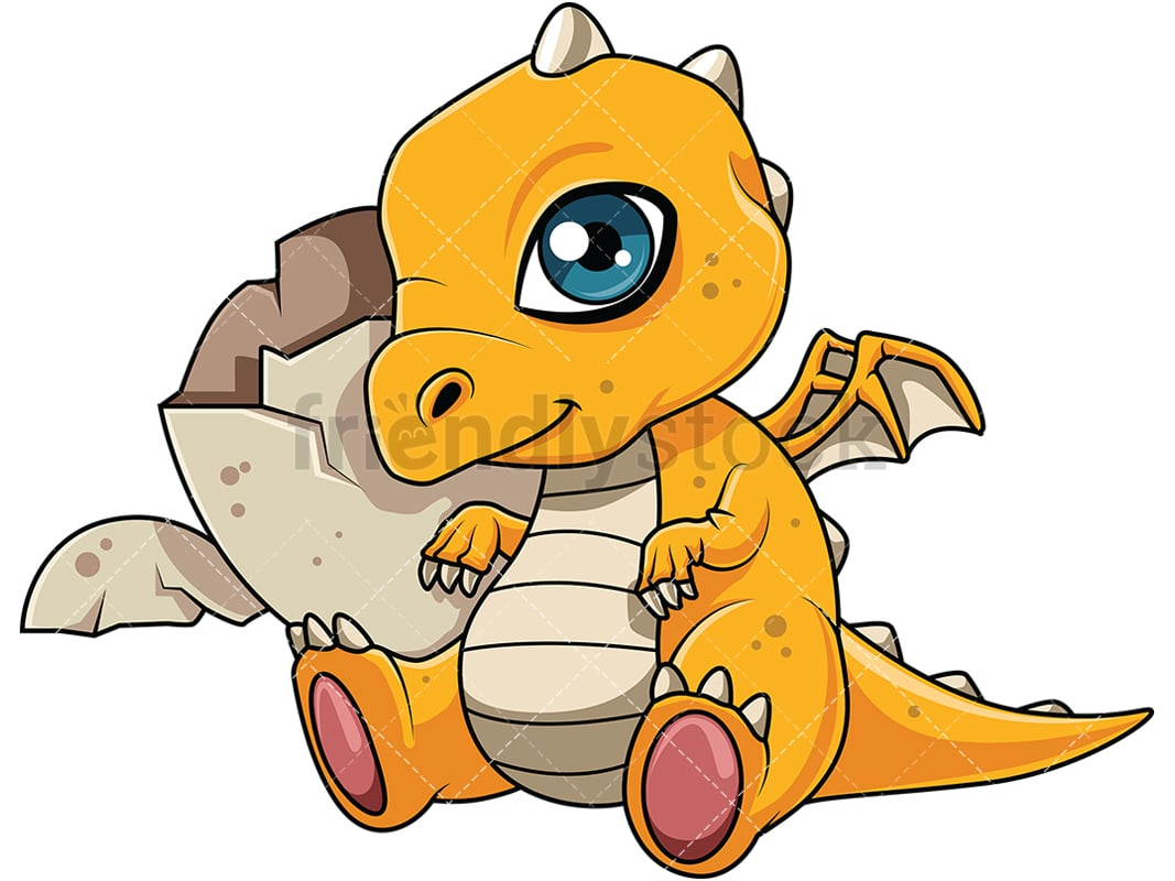 hight resolution of cute dragon hatchling near its egg vector cartoon clipart
