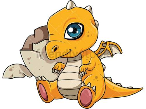 small resolution of cute dragon hatchling near its egg vector cartoon clipart
