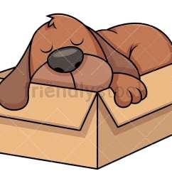 stray dog sleeping in cardboard box vector cartoon clipart [ 1067 x 800 Pixel ]