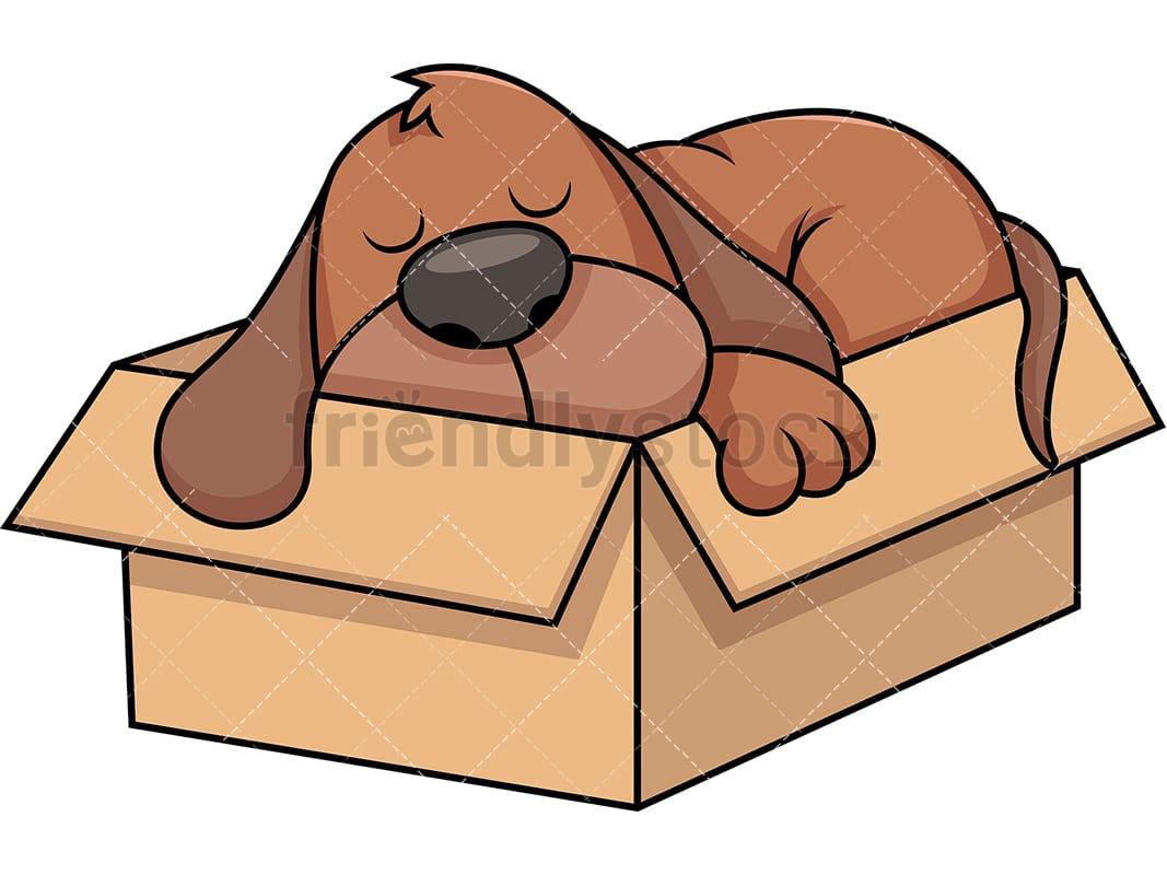 hight resolution of stray dog sleeping in cardboard box vector cartoon clipart