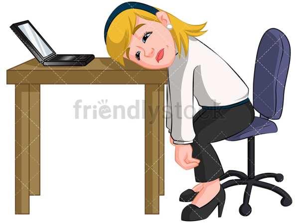 woman sleeping desk clipart