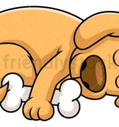 dog sleeping while hugging bone vector cartoon clipart [ 1200 x 675 Pixel ]