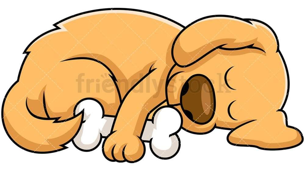 medium resolution of dog sleeping while hugging bone vector cartoon clipart
