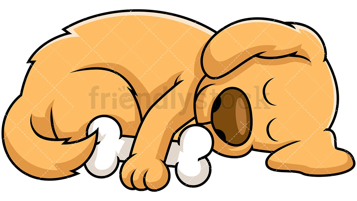 hight resolution of dog sleeping while hugging bone vector cartoon clipart
