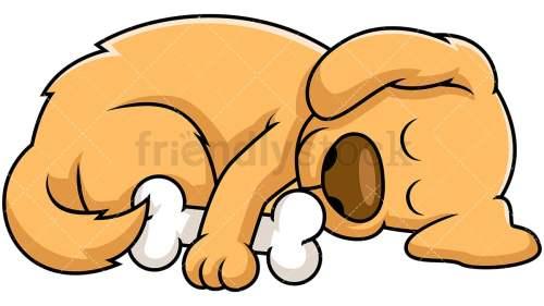 small resolution of dog sleeping while hugging bone vector cartoon clipart