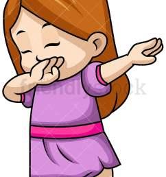 dabbing little girl vector cartoon clipart [ 800 x 1200 Pixel ]